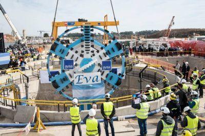 Alberto, Kicillof y Galmarini pusieron en marcha la tunelera Eva, una obra del Sistema Agua Sur que realiza AySA
