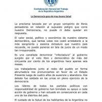 """La CGT contra los que hablan de """"infectadura"""""""