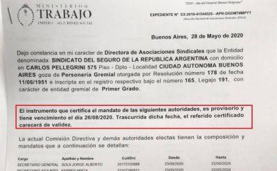 Un certificado provisorio de autoridades a medida de Sola desató una historia de intrigas y traiciones en Trabajo