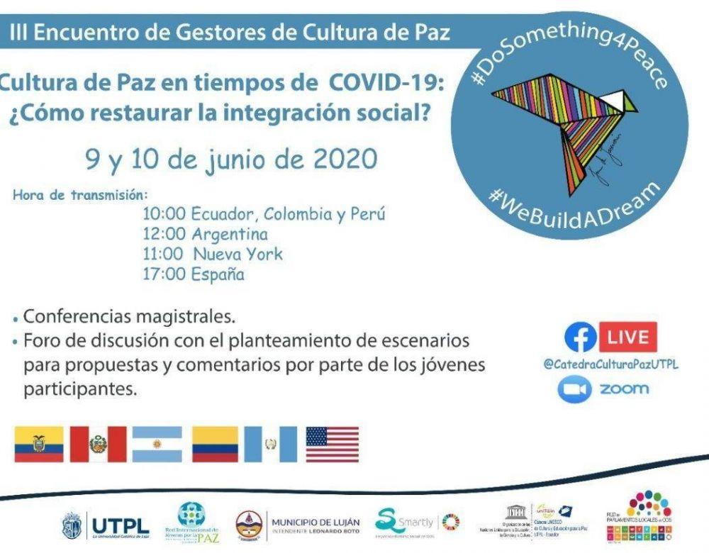 Luján participará del III Encuentro de Gestores de Cultura de Paz