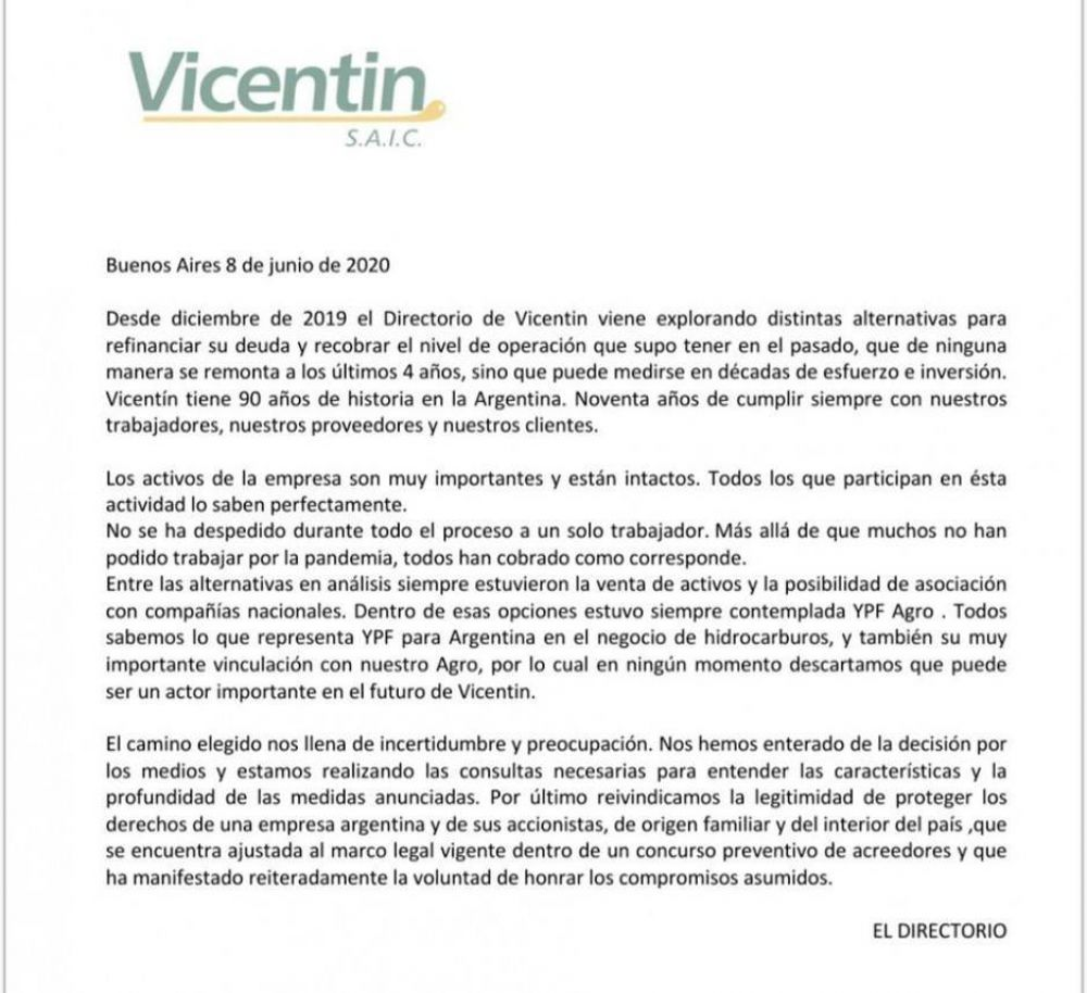 Vicentin advirtió que irá a la Justicia para evitar la expropiación