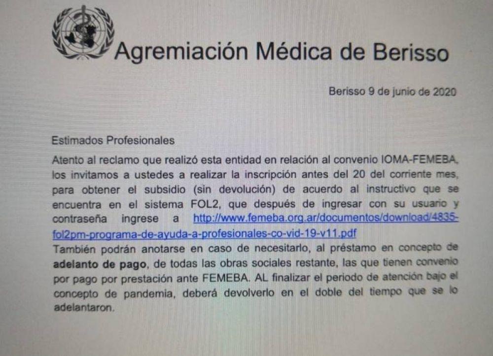 La Agremiación Médica de Berisso gestionó con éxito un subsidio para afiliados