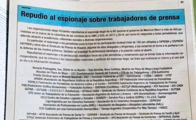 La CGT, las CTA y 200 organizaciones repudiaron el espionaje del macrismo a los periodistas