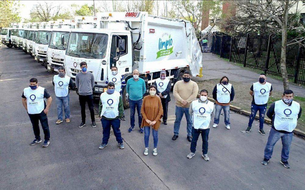 Presentaron los 10 camiones nuevos para el sistema de recolección de residuos en Quilmes