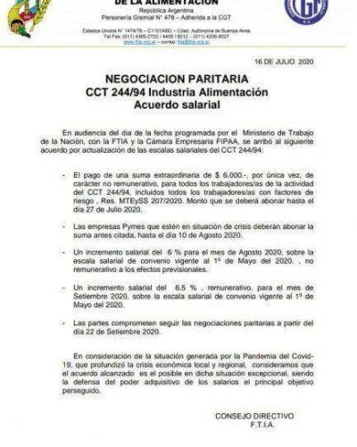 Paritarias: la FTIA cerró un acuerdo provisorio y se retomarán las negociaciones en septiembre