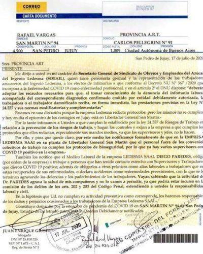 Denuncian a Ledesma por no cumplir los protocolos de prevención de Covid-19