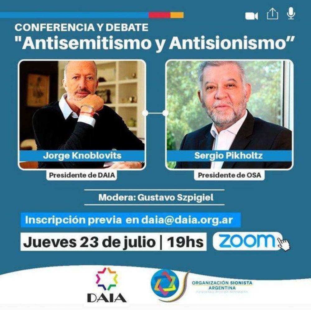 DAIA y OSA brindarán una conferencia sobre antisemitismo y antisionismo