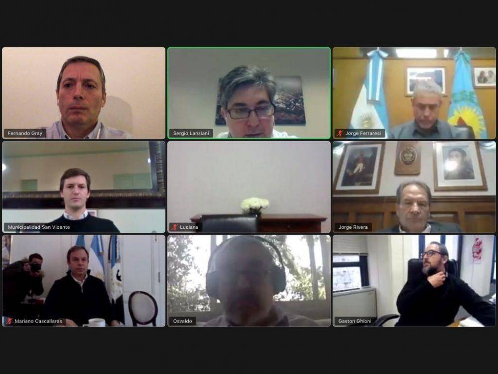 Fernando Gray e intendentes en videoconferencia con el Secretario de Energía de la Nación