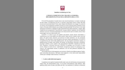 Nuevo documento del Vaticano sobre el mundo post-Coronavirus