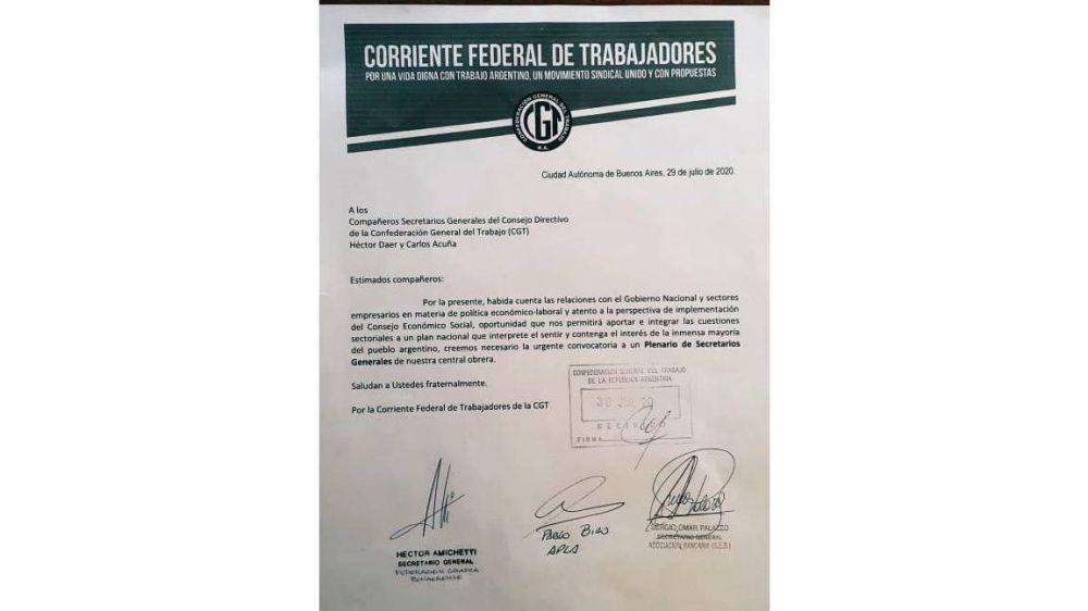 La Corriente Federal apura a la CGT y pide que valide su accionar en un plenario de secretario generales