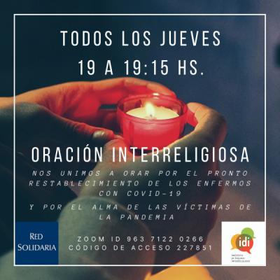 Organizan un rezo interreligioso por las víctimas de coronavirus