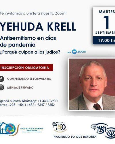 OSFA-WIZO invitan a una charla con Yehuda Krell: «Antisemitismo en días de pandemia»