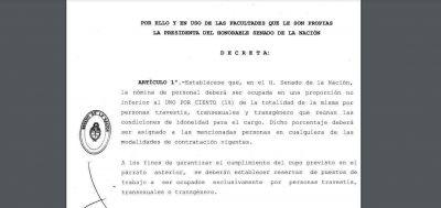CFK decretó el cupo laboral trans en el Senado de la Nación