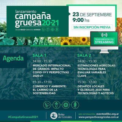 La Bolsa de Cereales realizará el lanzamiento de la Campaña Gruesa 2020/21