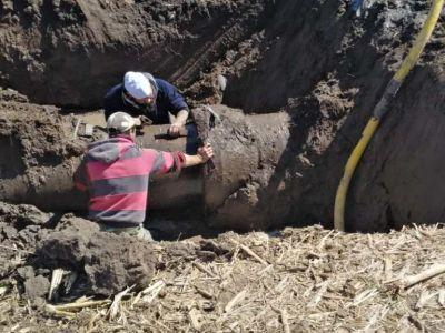 T. Lauquen: el Municipio realizó trabajos de reparación en dos tramos del acueducto de Mari Lauquen