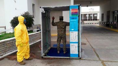 Puerto Belgrano: La Compañía de Ingenieros Anfibios fabricó estaciones móviles para la descontaminación del personal