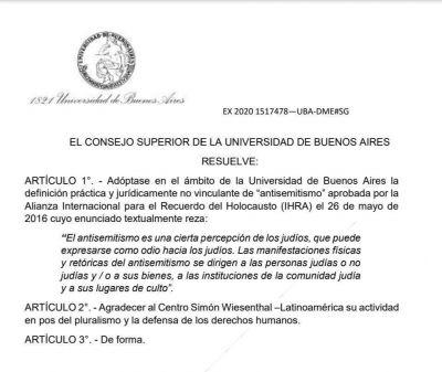 La Universidad de Buenos Aires adopta la definición de antisemitismo
