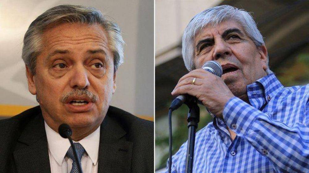 Alberto Fernández recibió a Hugo Moyano en la Casa Rosada para hablar del acto del 17 de octubre