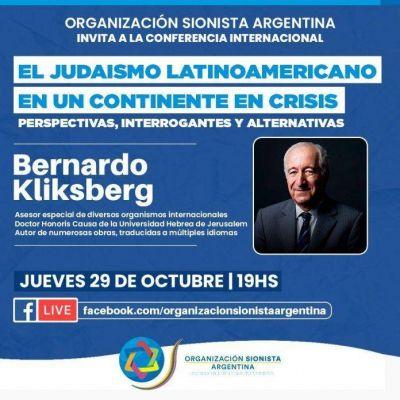 La OSA invita a la conferencia de Bernardo Kliksberg: «El judaísmo latinoamericano en un continente en crisis»