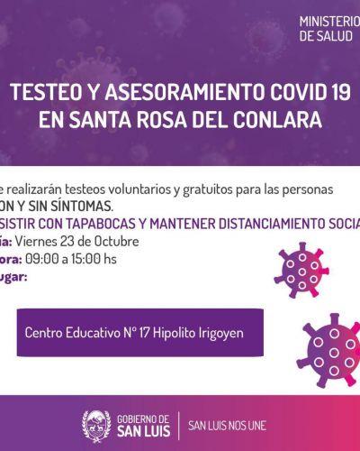 Este viernes realizarán testeos voluntarios por COVID-19 en Santa Rosa del Conlara