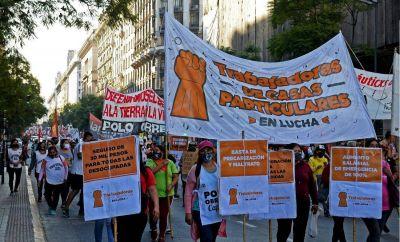 Trabajadores de casas particulares movilizan y piden 100% de aumento