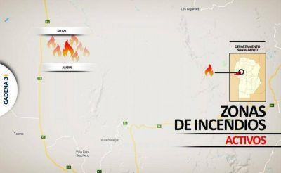 Bomberos siguen combatiendo focos de incendio en las sierras
