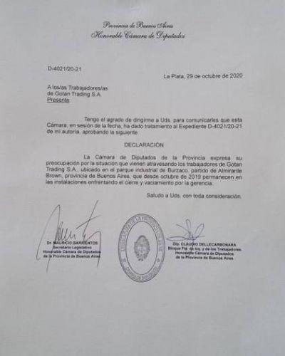 Diputados de Provincia preocupados por los trabajadores de la empresa Gotan en Almirante Brown