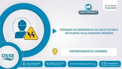OSSE realizará trabajos de urgencia en la planta de Villa Mariano Moreno de Chimbas