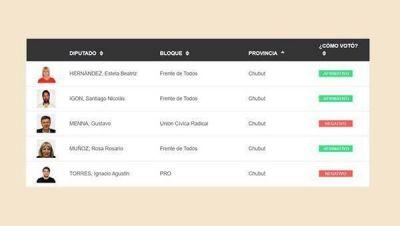 Cómo votaron los cinco diputados de Chubut la ley del Aporte Solidario
