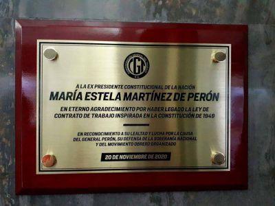 Homenaje a Isabel Perón en la CGT: dos libros, una placa y un mensaje desde Madrid