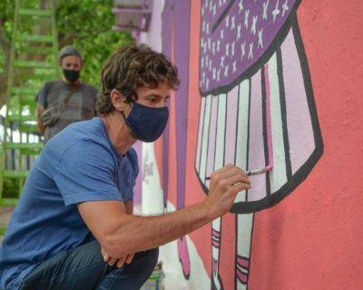 San Fernando: Juan Andreotti y Malena Galmarini presentaron un mural para concientizar sobre la violencia hacia la mujer