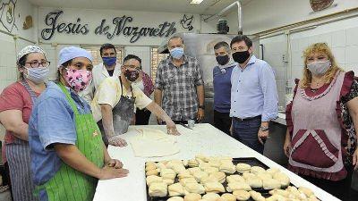 Arroyo, Berni y Zabaleta recorrieron un taller protegido que integra a personas con discapacidad en Hurlingham