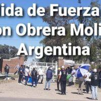 """Protesta del sindicato de Molineros """"UOMA"""" en Tornquist """"Molino Harinero Carhue"""