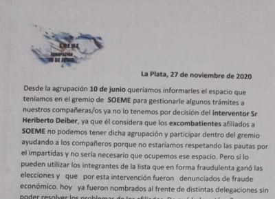 La Agrupación 10 de Junio cuestionó la postura del actual interventor del SOEME