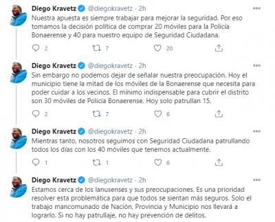 En una serie de tuits Diego Kravetz manifesto su preocupación por la falta de patrulleros para la Policía Bonaerense en Lanús