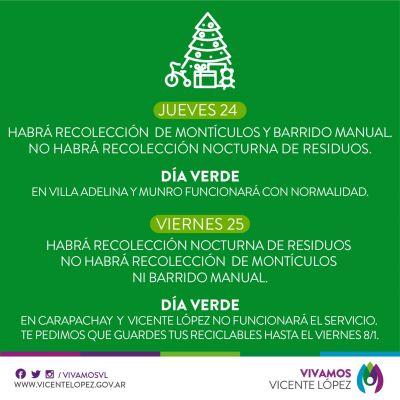 Vicente López: servicios de recolección y día verde en las fiestas