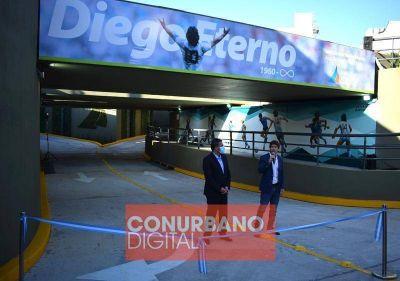 Andreotti y Massa inauguraron el túnel de la calle Martín Rodríguez, que lleva el nombre de Diego Maradona