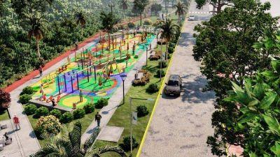 """Juan Andreotti presentó el parque que se construye donde se entubó el zanjón """"Miguel Cané"""""""