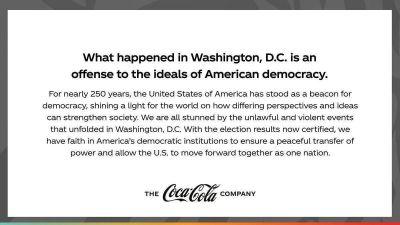 Coca-Cola condena lo sucedido en el Capitolio: ¿Un gran movimiento en marketing?