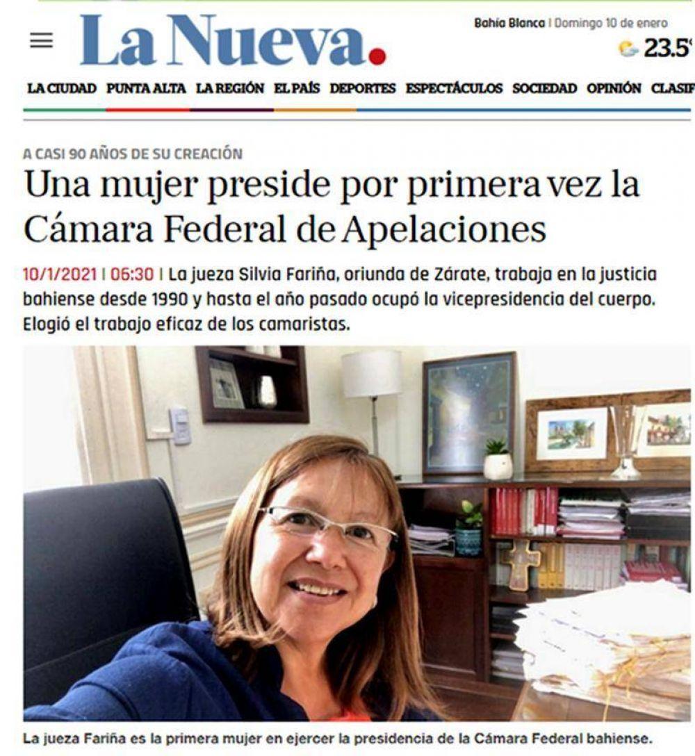 Zarateños Destacados: Es de Zárate, la primera mujer que preside la Cámara Federal de Apelaciones de Bahía Blanca