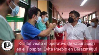 Kicillof visitó el operativo de vacunación en el Hospital Evita Pueblo