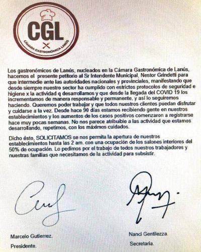 La Cámara Gastronómica de Lanús le pidió a Grindetti que intermedie ante el Gobierno Nacional y Provincial para poder seguir trabajando hasta las 2 AM