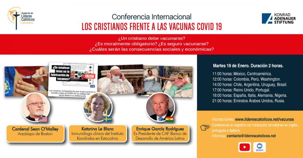 Cardenal Sean O'malley dará conferencia mundial sobre vacunas covid19.