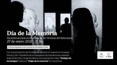 La DAIA y la Embajada de Italia realizarán una ceremonia conjunta por el Día Internacional de la Memoria de las Víctimas del Holocausto