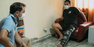 Abella visitó al policía que resultó herido en medio de la captura de un presunto homicida
