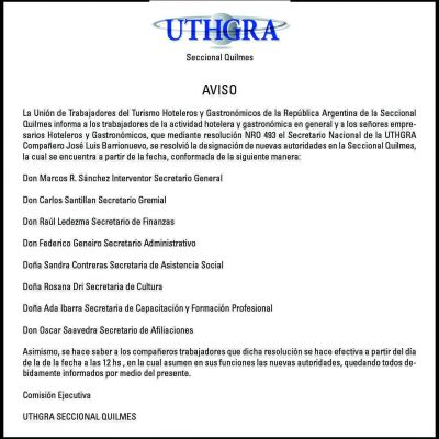 Uthgra Quilmes designó nuevas autoridades