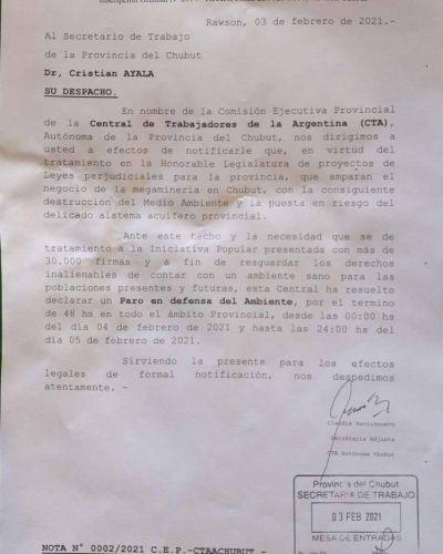 La CTA impulsa un inédito paro ambiental de 48 horas contra la minería en Chubut