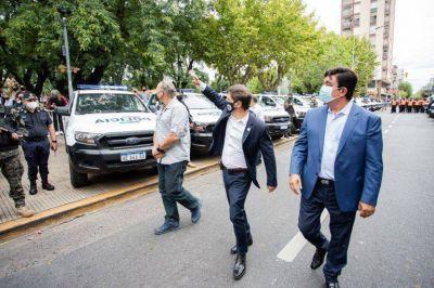 Kicillof, Berni y Espinoza presentan patrulleros y anuncian que van a sumar 500 agentes en La Matanza