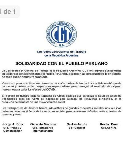 La CGT se solidarizó con Perú ante el aumento de casos de coronavirus en ese país