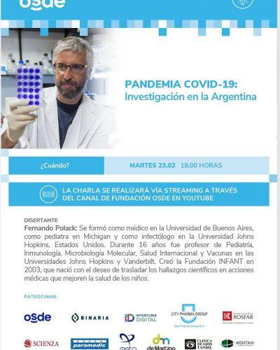 "Fundación OSDE invita a la charla de Fernando Polack ""Pandemia Covid-19. Investigación en Argentina"""